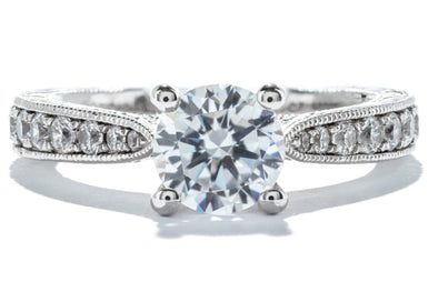 Gabriel New York 14K White Gold 1ctw Diamond Vintage Engagement Ring