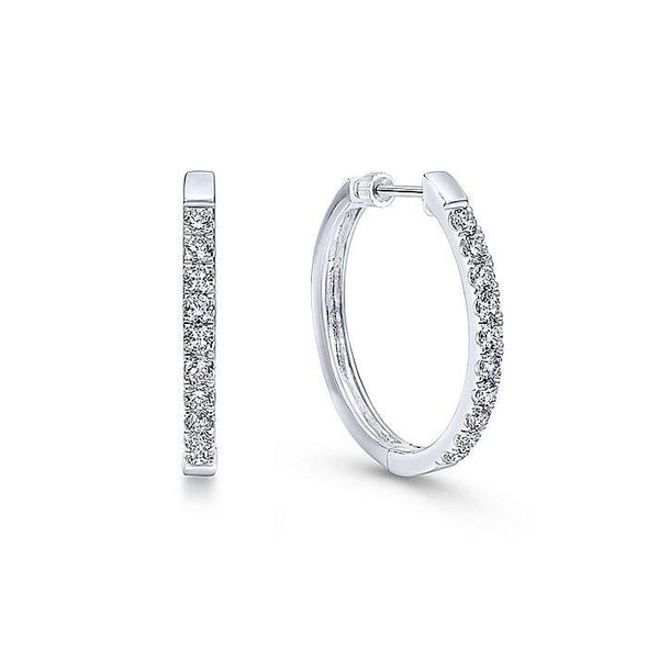 Gabriel NY 14K White Gold Tiger Claw Set 25mm Round Classic 1CT TW Diamond Hoop Earrings  EG10849W45JJ