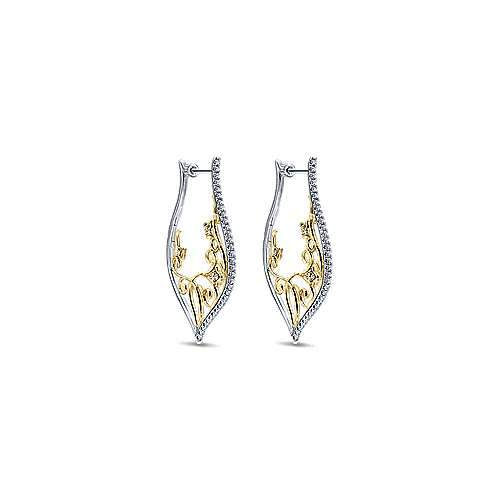 Gabriel NY 14k .80CT TW Yellow/White Gold Intricate Scrollwork Diamond Hoop Earrings EG12586M45JJ