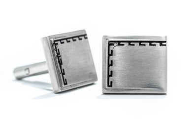 Adele Diamond Stainless Steel Antiqued Edge Brushed Cuff Links
