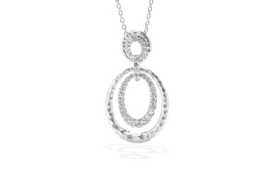 Gabriel New York Sterling Silver Hammered Layered White Sapphire Loop Necklace