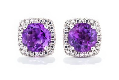 Adele Diamond Sterling Silver Amethyst & .015ctw Diamond Halo Earrings