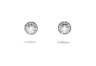 Adele Diamond 14K White Gold 1ctw Diamond Halo Studs 90001