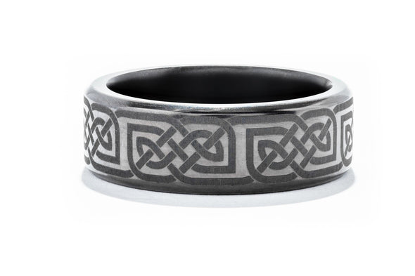Lashbrook Elysium Solid Diamond Gents Wedding Band with Celtic Detailing