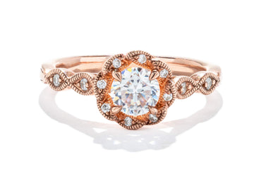 Adele Diamond 14K Rose Gold 0.50ct Diamond Halo Engagement Ring