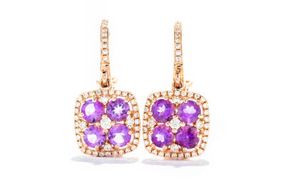 Royal Jewelry 14K Rose Gold .38ctw Diamond & Amethyst Halo Fashion Earring