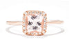 14k Rose Gold Diamond Halo and Morganite Ring