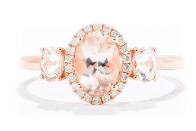 14K Rose Gold Oval Morganite & Diamond Halo Engagement Ring
