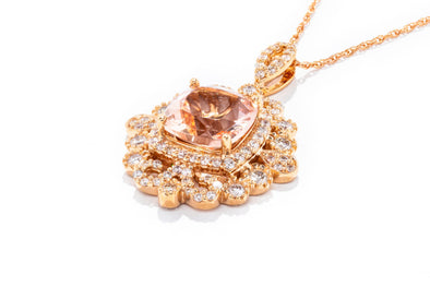 Royal Jewelry 14K Rose Gold Diamond & Morganite Pendant Necklace PC6527M