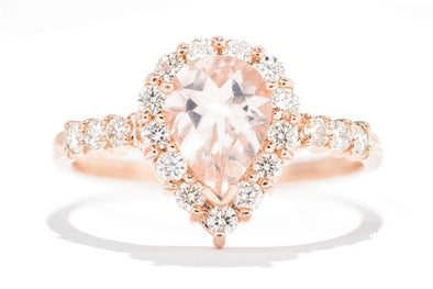 14K Rose Gold Pear Morganite & Diamond Halo Engagement Ring