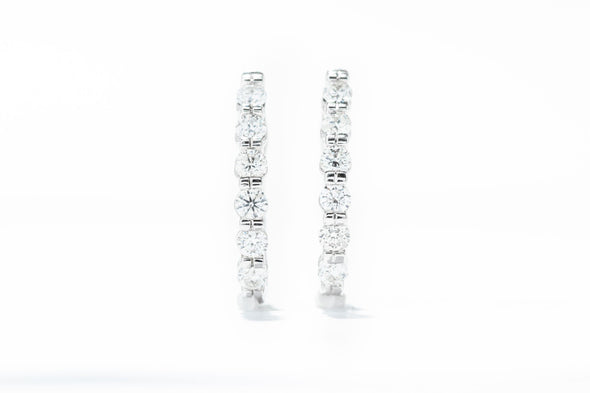 Adele Diamond 14K White Gold 1ctw Diamond Bar Hoop Earrings