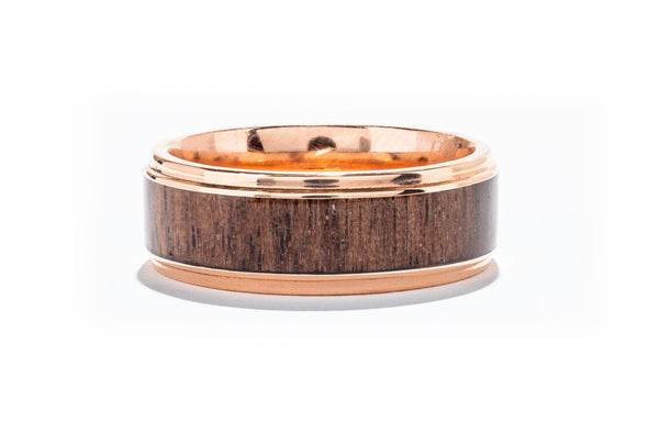 Lashbrook 14K Rose Gold Men's Wedding Band with Walnut Inlay