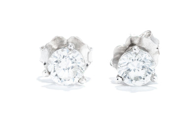 14K White Gold 3/4CT. TW. Diamond Martini Stud Earrings