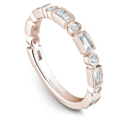 Noam Carver 18K Gold Stackable Ring - 6 Round & 7 Baguette Diamonds STB30-1S-D