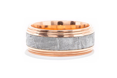 Lashbrook 14K Rose Gold Meteorite Men's Wedding Band