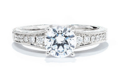 Noam Carver Engraved 14K White Gold Engagement Ring Setting with 18 Round Diamonds B050-01A