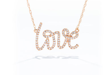 "Royal Jewelry 14K Rose Gold .22ctw Diamond ""LOVE"" Necklace PC7124D"