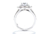 Unique Settings of NY 18K White Gold Halo Engagement Ring R02467