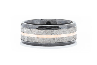 Lashbrook Zirconium Men's Wedding Band with Meteorite and 14k Rose Gold Inlay