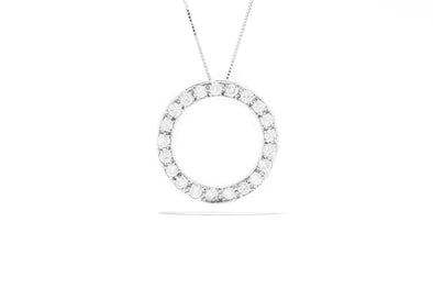 Adele Diamond 14K White Gold 1ctw 21 Diamonds Circle Pendant Necklace