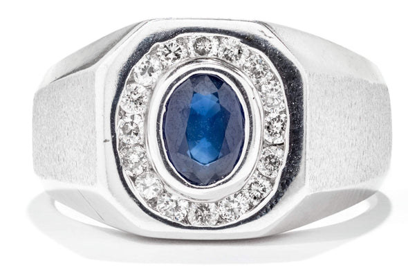 14K White Gold Blue Sapphire & Diamond Men's Ring