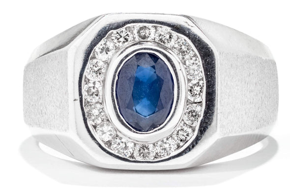 Gents 14K White Gold Diamond and Sapphire Ring