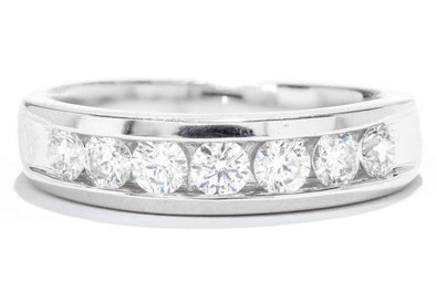 Gents 14K White Gold Diamond Wedding Band