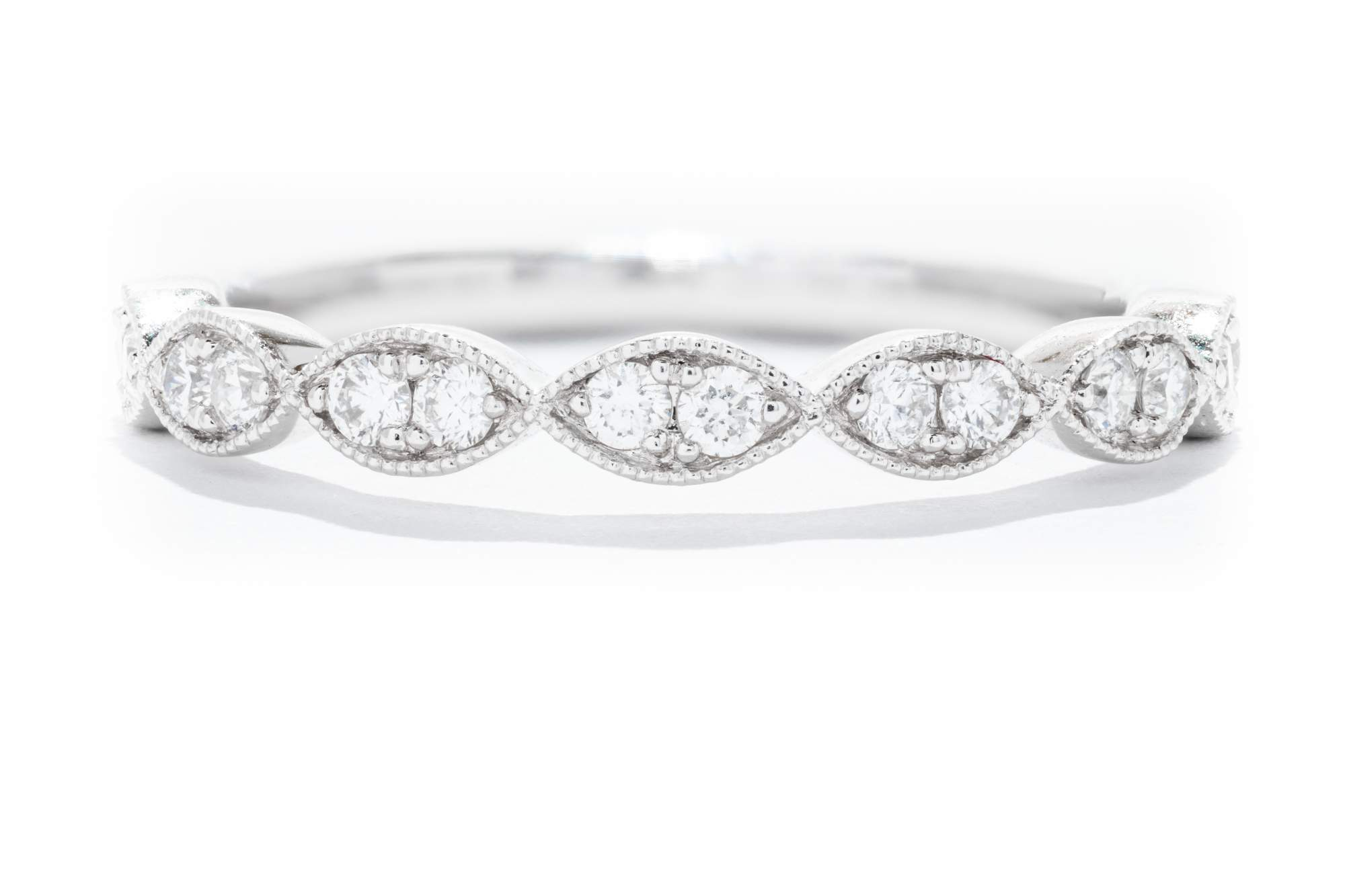 Stackable Wedding Bands.14k White Gold Ladies Diamond Stackable Wedding Band