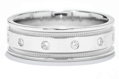 14K White Gold Men's Diamond Wedding Band