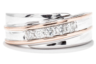 Gents 14K White and Rose Gold Diamond Wedding Band
