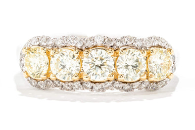 Royal Jewelry 14K White Gold Yellow & White Diamond Fashion Ring