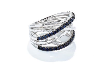 Gabriel New York Sterling Silver Hammered Wide Band Layered Sapphire Fashion Ring