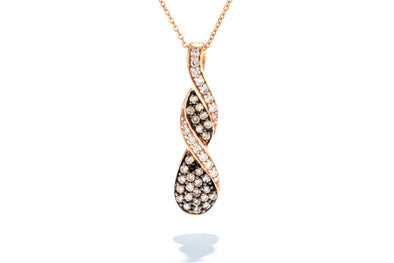 Adele Diamond 14K Rose Gold Chocolate Diamond Twist Pendant Necklace