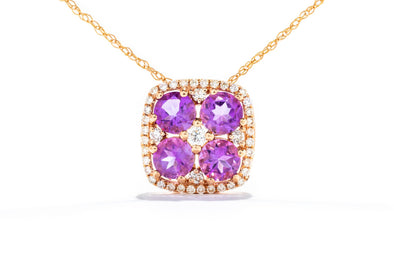 14k Rose Gold Diamond and Amethyst Necklace