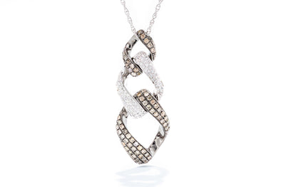 Royal Jewelry 14K White Gold .16ct Diamond & .66ct Mocha Diamond Pendant Necklace WC3869V