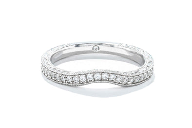 Gabriel & Co 14K White Gold .20ctw Diamond Contemporary Wedding Band