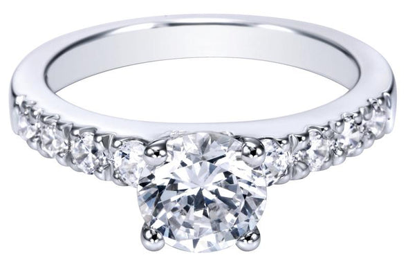 14K Contemporary Straight Band Diamond Engagement Ring