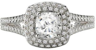 14K Victorian Split Shank Double Cushion Halo Diamond Engagement Ring