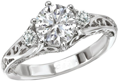 14K Three Stone Nature Inspired Diamond Engagement Ring