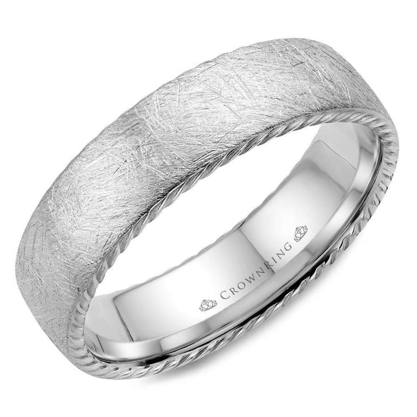 Gents 14K WG Wedding Band w/ Textured Finish & Rope Detailing WB-006R6W (6mm)