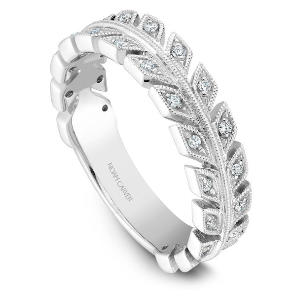 Noam Carver Platinum Stackable Ring - 28 Round Diamonds STB3-1WZ-D