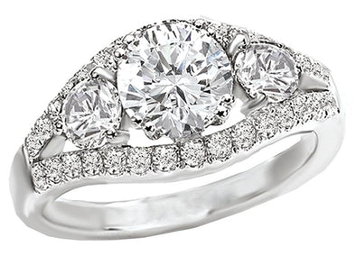 14K Contemporary Three Stone Diamond Engagement Ring