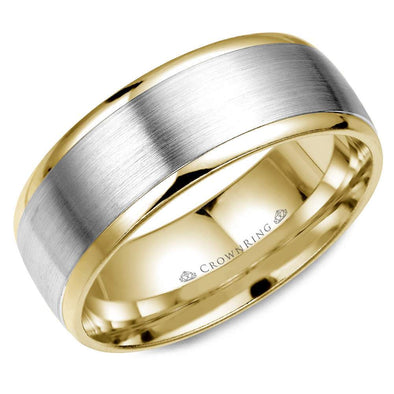Gents 14K White & YG Wedding Band w/ WG Brushed Center WB-8131 (8mm)