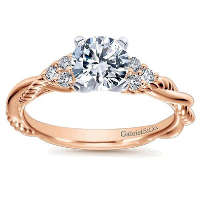 Gold Diamond Criss Cross Engagement Ring