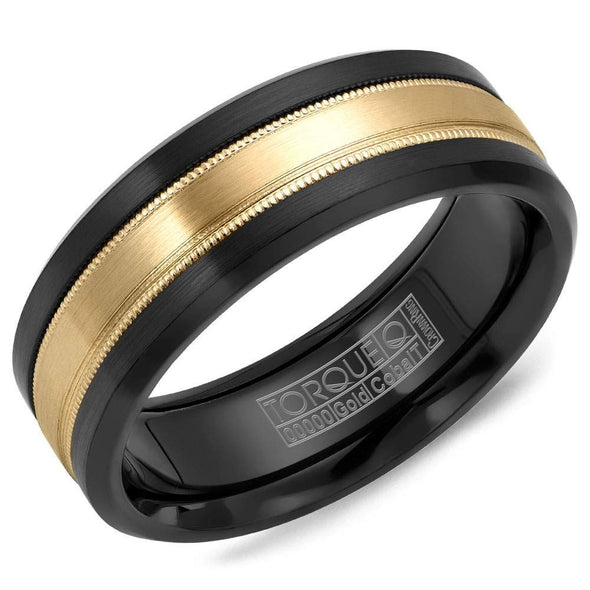 Gents Wedding Band w/ Yellow Gold Inlay & Milgrain Detailing CB035MY75 (7.5mm)