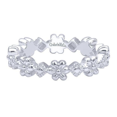 Gabriel NY Ladies 925 Silver Stackable Band LR5894-7SVJJJ