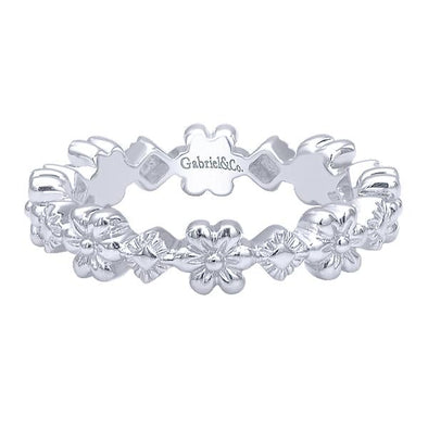 Gabriel NY Ladies 925Silver Stackable Band LR5894-7SVJJJ
