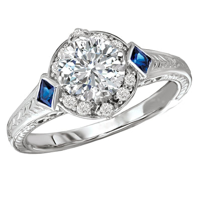18k Gold Designer DEF Moissanite Diamond & Sapphire Halo Engagement Ring 1.33ct. tw.