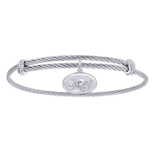 Gabriel NY 925 Silver/Stainless Steel Joy Charm Bangle
