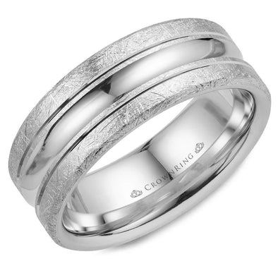 Gents 14K WG Wedding Band w/ Polished Center & Diamond Brushed Edges WB-024C8W (8mm)